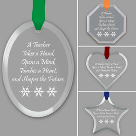 different shapes of crystal ornament with teacher takes a hand message and satin ribbon