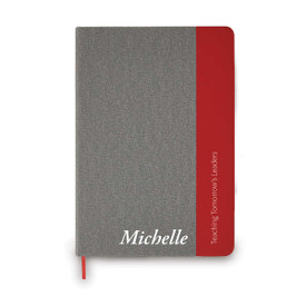 heather gray journal with red accents features teaching tomorrow's leaders message and personalization