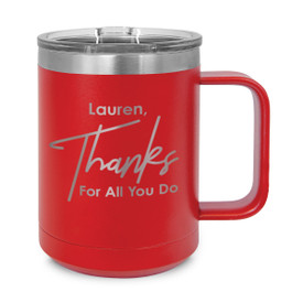 red stainless steel mug with thanks message and personalization
