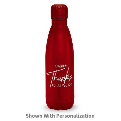 gray stainless steel water bottle with thanks message and personalization