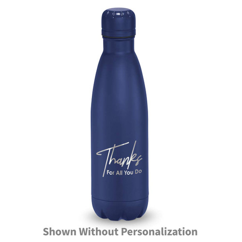 navy stainless steel water bottle with thanks message
