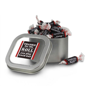 square tin with thanks for the roll message and individually wrapped tootsie rolls