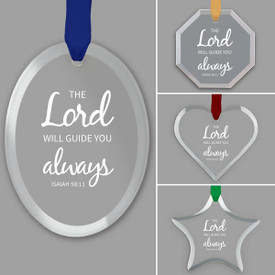 different shapes of crystal ornament with the lord will guide you always message and gold cord