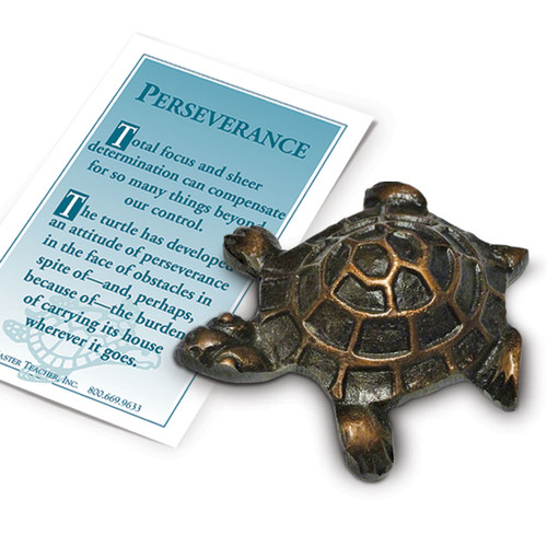 Antique Bronze finished Turtle Paperweight with Perseverance Message