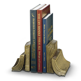 antique brass-finished stack of books bookends