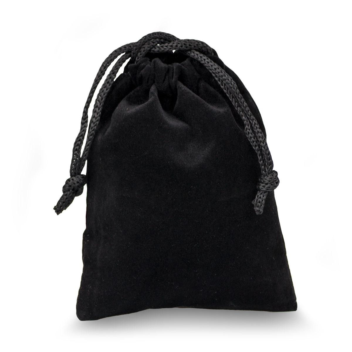 black velour pouch with drawstrings