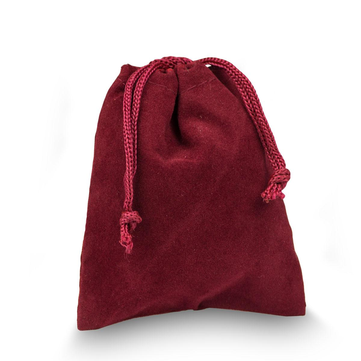 red velour pouch with drawstrings