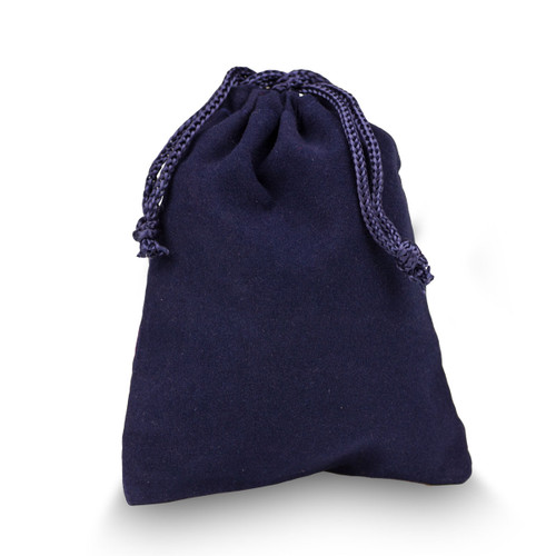 navy velour pouch with drawstrings