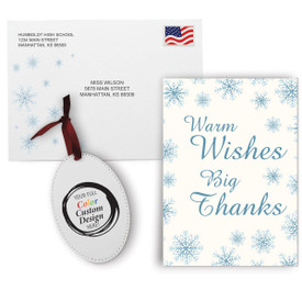 This Appreciation Mailer Kit Includes A Warm Wishes Big Thanks Greeting Card With Matching Envelope And A Custom Colorful Ornament. It's the Perfect Holiday Gift for Teachers.