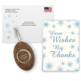 This Appreciation Mailer Kit Includes A Warm Wishes Big Thanks Greeting Card With Matching Envelope And A Custom Rustic Ornament. It's the Perfect Holiday Gift for Teachers.