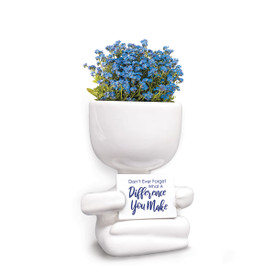 This People Planter Kit Features The Message: Don't Ever Forget What A Difference You Make. Grows Forget-Me-Nots.
