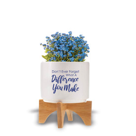 """Two-piece bamboo stand with modern white ceramic planter featuring the inspirational message """"Don't Ever Forget What A Difference You Make."""" Grows forget-me-nots."""