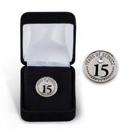 15 Years of Service Silver Tone Lapel Pin with Gem in Velour Box