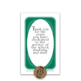 35 Years of Service Antique Gold Tone Lapel Pin with Thank You Message