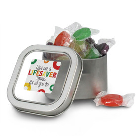 square tin with you are a lifesaver message and individually wrapped lifesavers