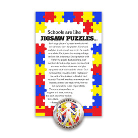 """This Colorful Metal Lapel Pin Features The Inspirational Message """"You Are An Essential Piece Of The Puzzle"""" And Comes Attached To A Keepsake Card."""