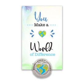 """This Colorful Metal Lapel Pin Features The Inspirational Message """"Making A World Of Difference"""" And Comes Attached To A Keepsake Card."""