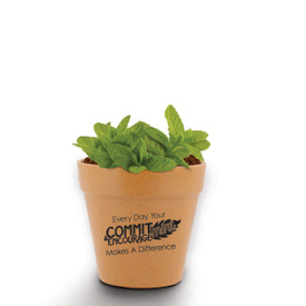 A Mini Flower Pot Kit Features The Inspirational Message: Every Day, Your Commit-Mint & Encourage-Mint Makes A Difference.