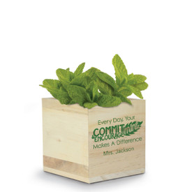 A Natural Pine Wood Plant Kit With Mint Seeds. Front Reads: Every Day, Your Commit-Mint & Encourage-Mint Makes A Difference