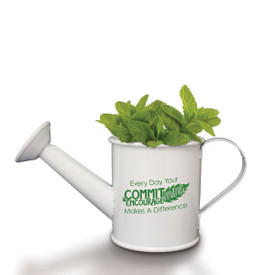 A Mini White Watering Can Grow Kit Featuring The Inspirational Message: Every Day, Your Commit-Mint & Encourage-Mint Makes A Difference. Grows Mint.